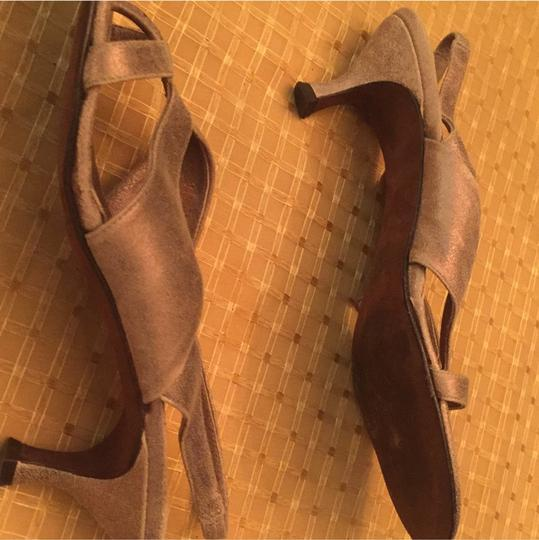 Donald J. Pliner Suede Goldish tan color. Color is very versatile and goes great with jeans, too! Sandals Image 10