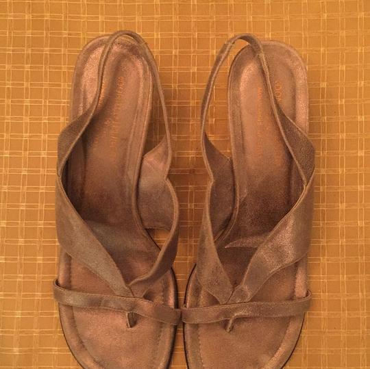 Donald J. Pliner Suede Goldish tan color. Color is very versatile and goes great with jeans, too! Sandals Image 2