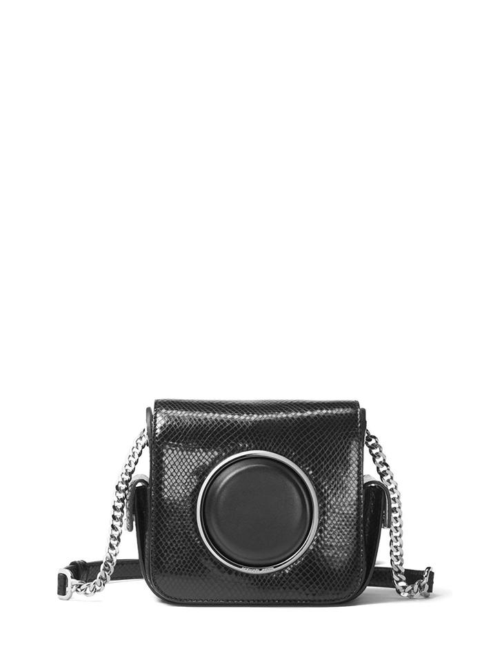 4258f462de75 MICHAEL Michael Kors Scout Metallic Embossed Camera Black Leather Cross  Body Bag