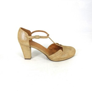 Chie Mihara Suede Anthropologie BROWN GOLD Pumps