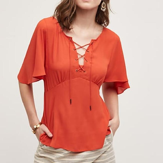 Preload https://img-static.tradesy.com/item/22813800/anthropologie-red-orange-hd-in-paris-palo-alto-silky-lace-up-blouse-size-8-m-0-1-650-650.jpg