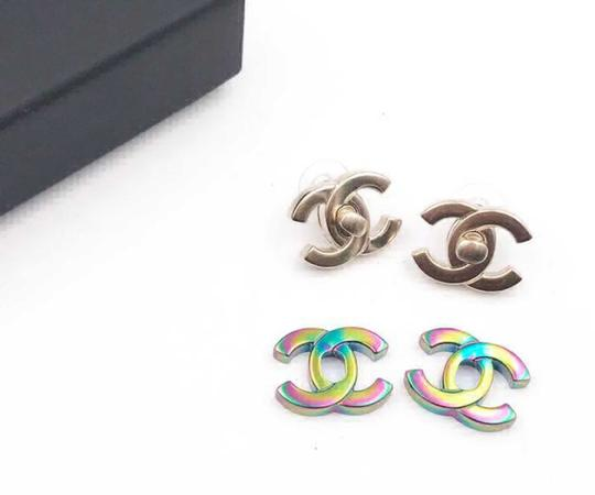 Chanel Chanel NWT Rare Classic Turnlock Exchangeable Piercing Earrings Image 1