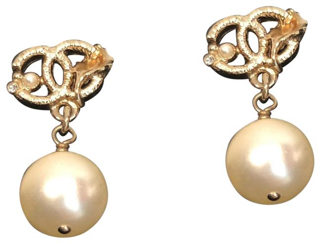 Item - Gold Golden Leaf with Faux Pearl Dangling Earrings