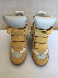 Isabel Marant Suede Bayley Sneakers Yellow Wedges