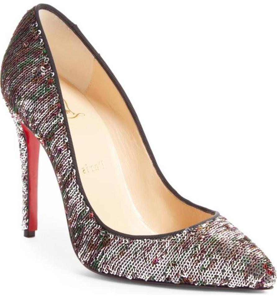 cheaper 609ab bcda1 Christian Louboutin Silver/Rainbow Pigalle Follies 100 Sequin Paillettes  Pumps Size EU 34 (Approx. US 4) Regular (M, B) 24% off retail