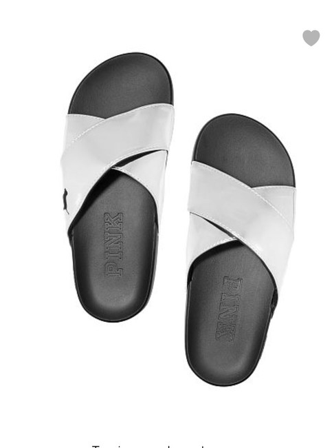 PINK Silver Cross Cross Slides Flats Size US 7 Regular (M, B) PINK Silver Cross Cross Slides Flats Size US 7 Regular (M, B) Image 1