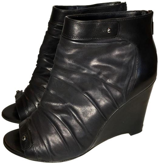Jean-Michel Cazabat Peep Toe Wedge Leather Black Boots Image 0