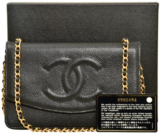 "834741ded763 Chanel Black Caviar Leather Wallet on Chain 7.5"" Inch WOC Cross Body  Bag - Tradesy"