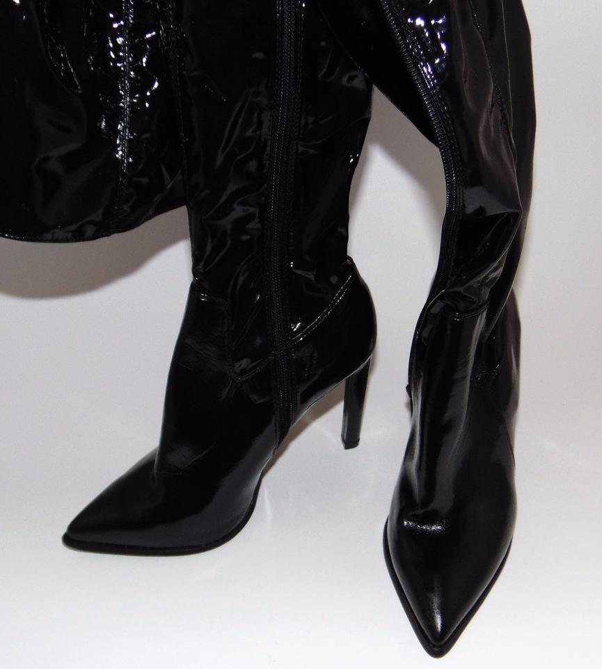 3513b3233 Jeffrey Campbell Black Vinyl Over The Knee Sherise Boots/Booties ...