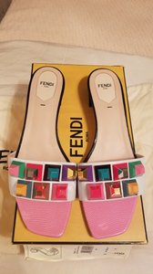 Fendi Rockstud Leather Designer Italy Multi Mules