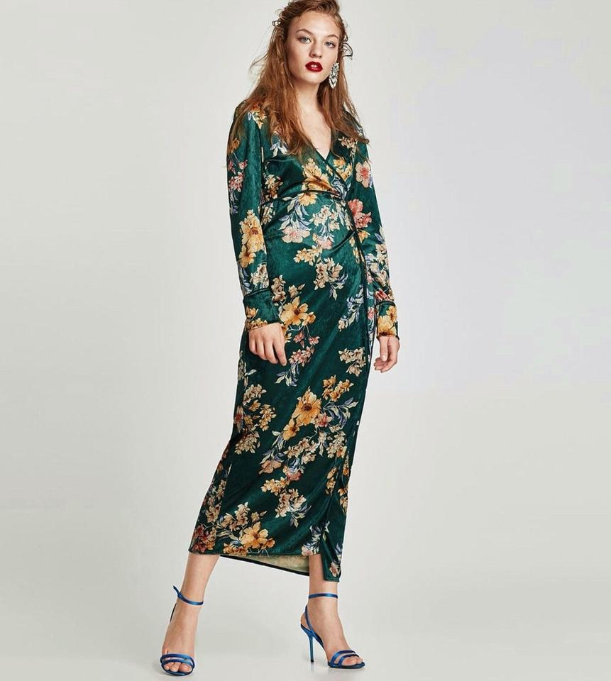 d6d2c4ed Zara Green Kimono Floral Print Wrap Long Casual Maxi Dress Size 6 (S)