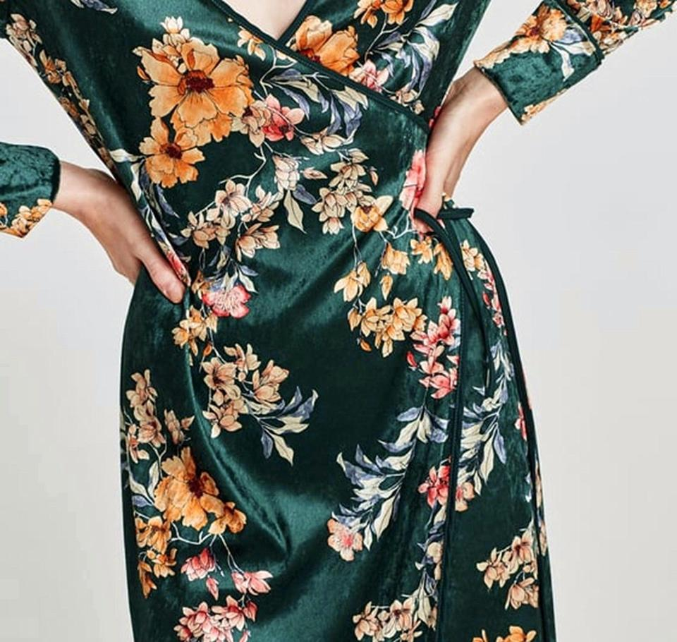 Casual Kimono Wrap Print Zara Floral Dress Maxi Green vqBzIX