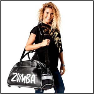 Zumba Fitness Dufflebag Rolling Luggage Black Silver Travel Bag