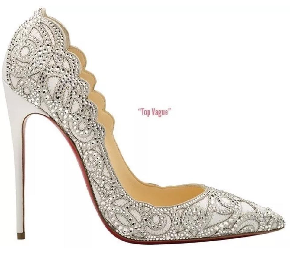 acc75ae5b760 Christian Louboutin White Top Vague Cinderella Crystal Wedding ...
