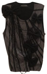 Monique Lhuillier Bows Beads Tank Sweater Top Black and Gray