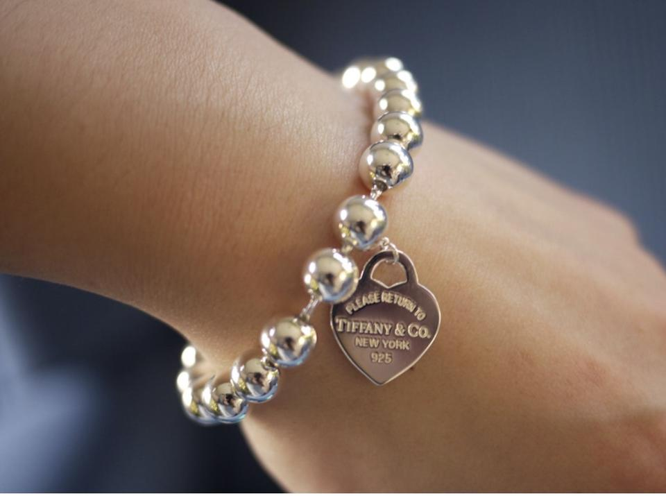 606742675 Tiffany & Co. Sterling Silver Heart Pearl Bead 7.5 Inches Bracelet ...
