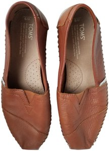 TOMS Leather Leather Espadrille Leather Cognac Flats
