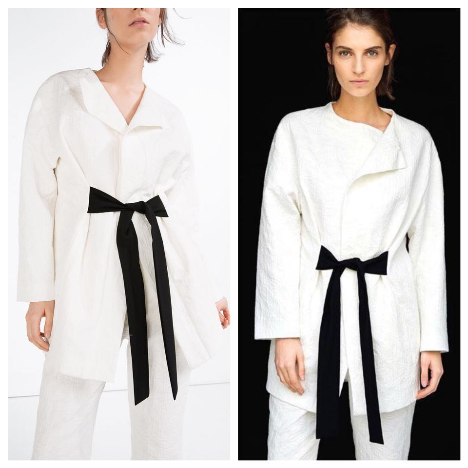 543c578c Zara Off White Long Jacquard Textured Blazer Sash Belt Jacket Size ...