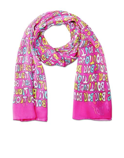 Boutique Moschino Pink Cheap and Chic Letters Silk Italy Women Obolon Scarf/Wrap Boutique Moschino Pink Cheap and Chic Letters Silk Italy Women Obolon Scarf/Wrap Image 1