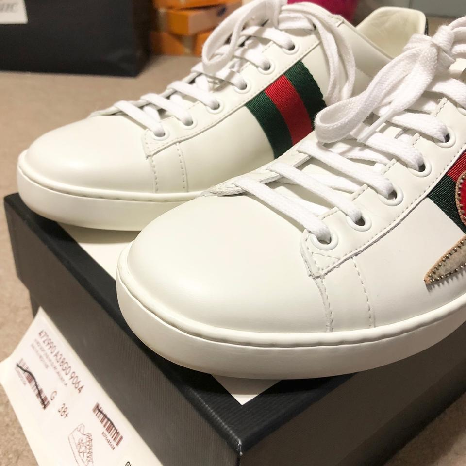061a2678ca0 Gucci White New Ace Pierced Heart Leather 38.5 Sneakers Size US 9 ...