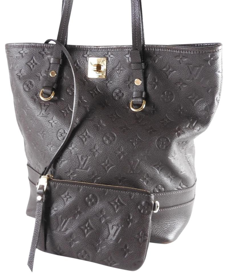 0f502b6c9d1b Louis Vuitton Citadine Limited Ed. Monogram Empreinte Pm with Pouch Black  Leather Tote
