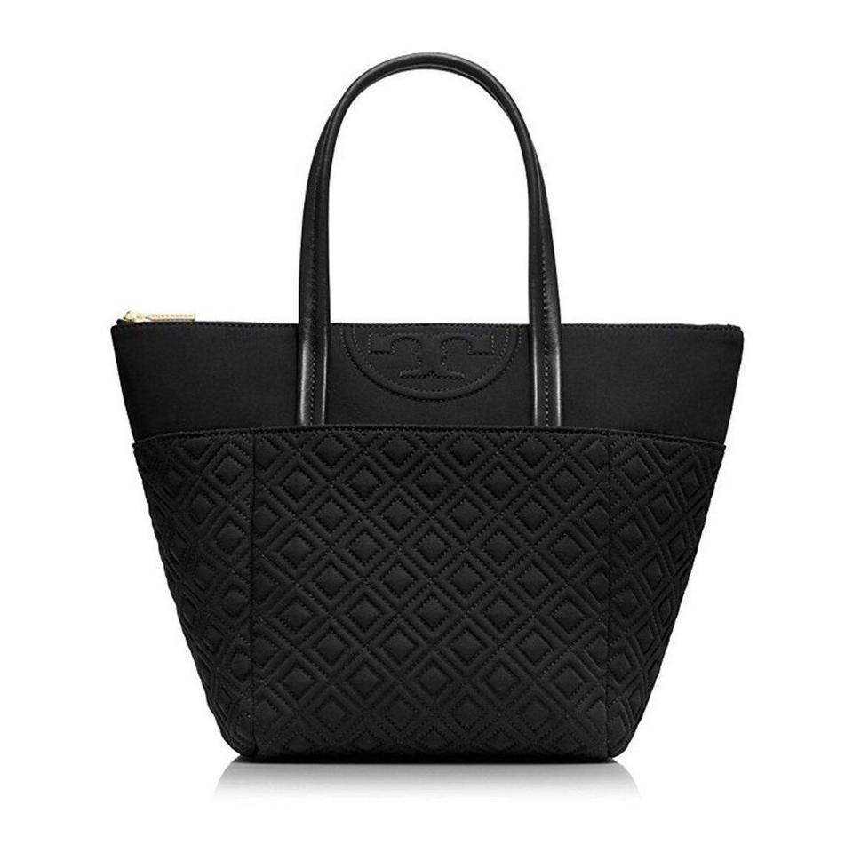 ee053a2fb9c Tory Burch Fleming New Small Tote Quilted Tote Black Nylon Cross ...