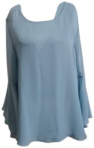Jennifer Lopez Jlo Night Out Scoop Back Bell Sleeves Top powder blue