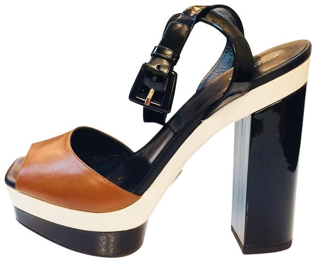 Michael Kors Collection Caramel White & Black Color Mk Runway Sandals Size EU 41 (Approx. US 11) Regular (M, B) Michael Kors Collection Caramel White & Black Color Mk Runway Sandals Size EU 41 (Approx. US 11) Regular (M, B) Image 1