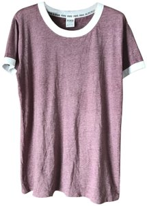 PINK Sleeves Logo Banding Cotton Blend T Shirt Mottled Maroon