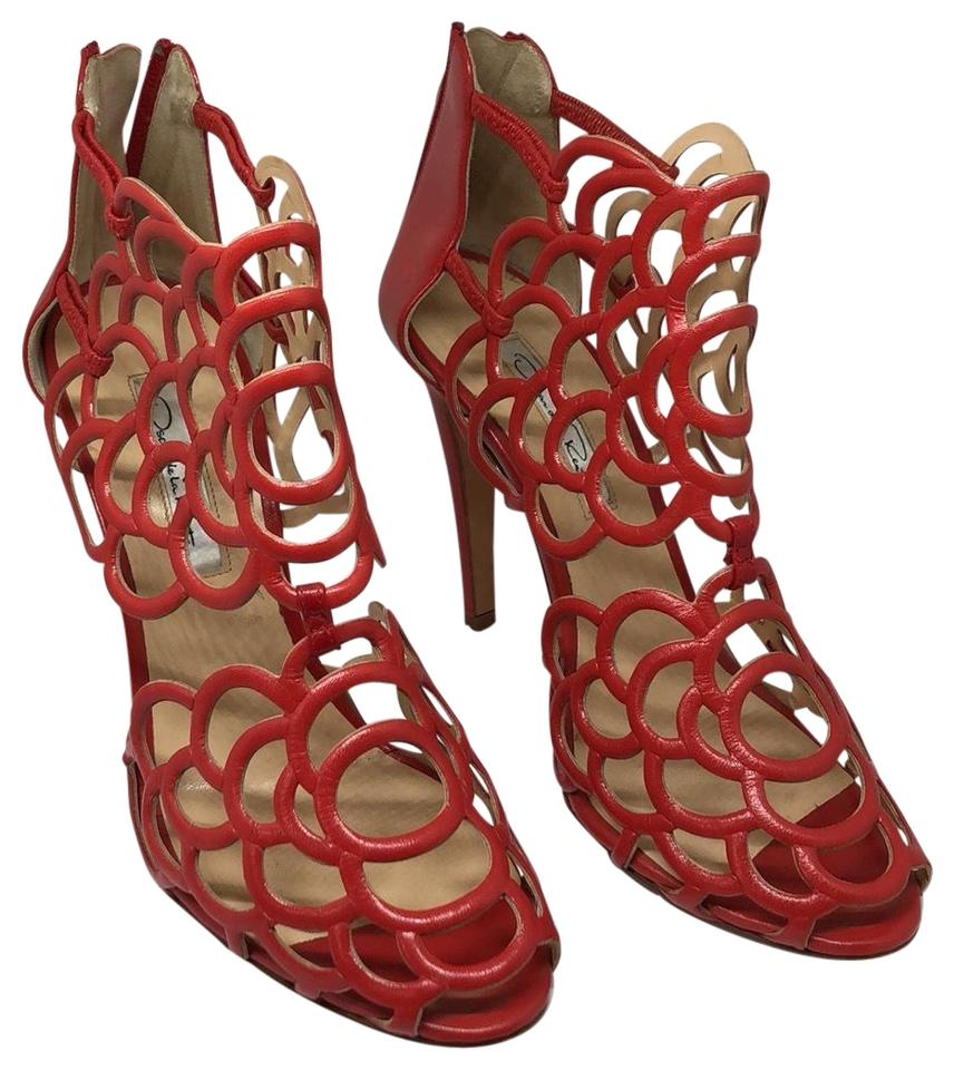Oscar de Leather la Renta Red Cut-out Leather de Sandals cb8e61