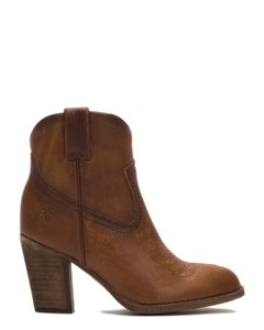 Frye Western Leather Cowboy Stacked Heel Cognac Boots