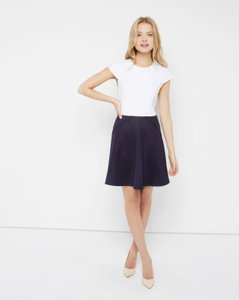 66f880a4ae0222 Ted Baker short dress Navy and White Skater Flare Slimming London on Tradesy