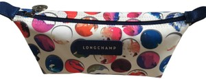 Longchamp Shoulder Large Flap Clutch Tote in blue white multi
