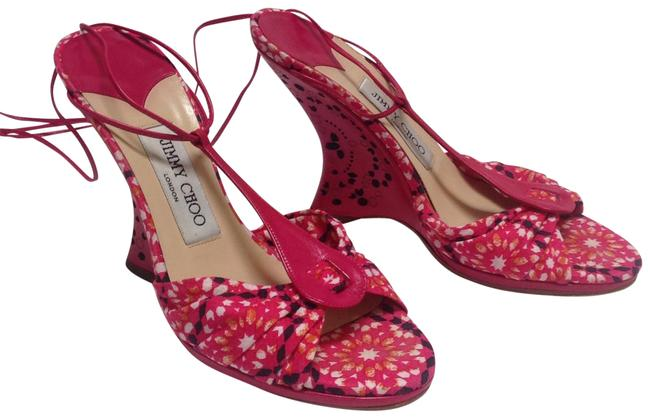 Item - Pink Leather with Multi White/Black/Pink/Paprika Fabric J.choo Sandals Wedges Size EU 36.5 (Approx. US 6.5) Regular (M, B)