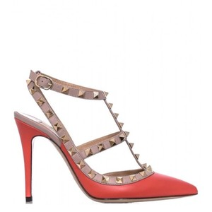 Valentino Rockstud Red Smooth Calf Poudre Coral Pumps