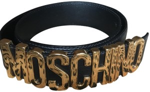 Moschino Black leather Moschino gold-tone letters Belt