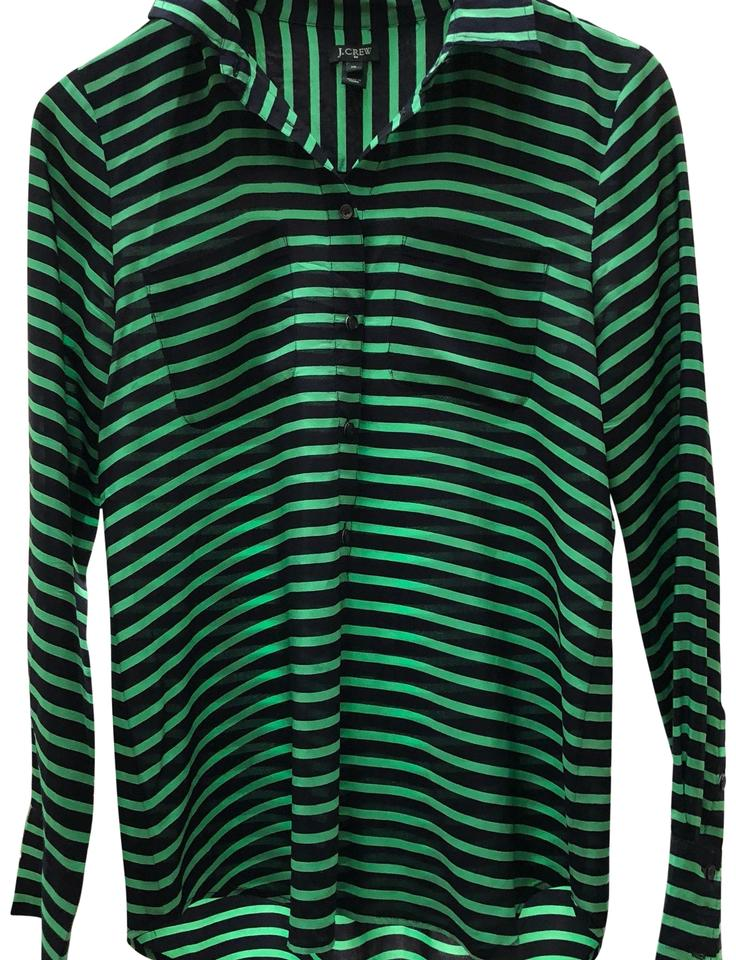 fe2269d1289 J.Crew Black and Green 24547 Blouse Size 4 (S) - Tradesy