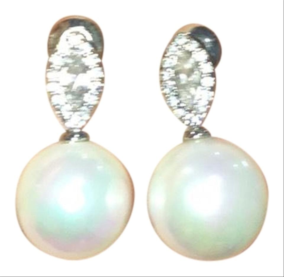 Statement Earrings Diamond And Pearl Costume