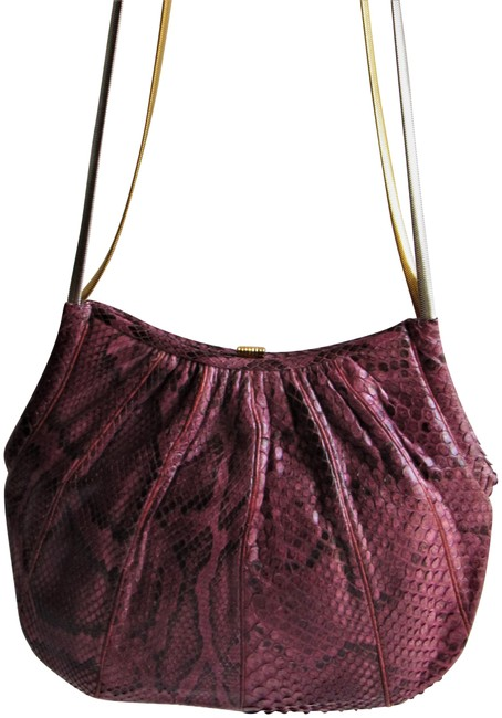 Item - Small Convertible Purse Purple and Black Snakeskin Clutch