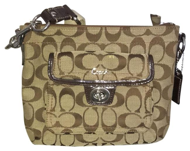Item - Dark Monogram Comes with Free Wristlet Brown and Light Brown Cotton Cross Body Bag