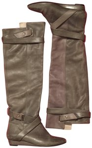 Pour La Victoire Genuine Leather Tall Over-the-knee Distressed Wedge gray Boots