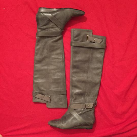Pour La Victoire Genuine Leather Tall Over-the-knee Distressed Wedge gray Boots Image 1