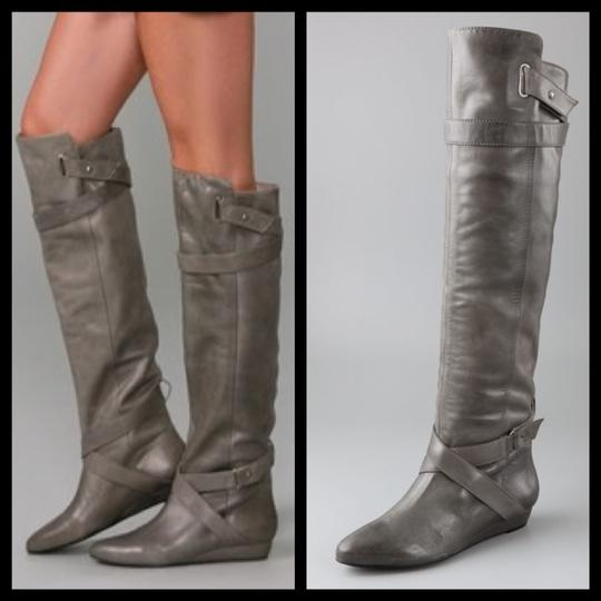 Pour La Victoire Genuine Leather Tall Over-the-knee Distressed Wedge gray Boots Image 2
