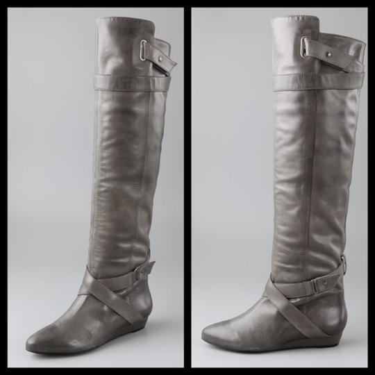 Pour La Victoire Genuine Leather Tall Over-the-knee Distressed Wedge gray Boots Image 3