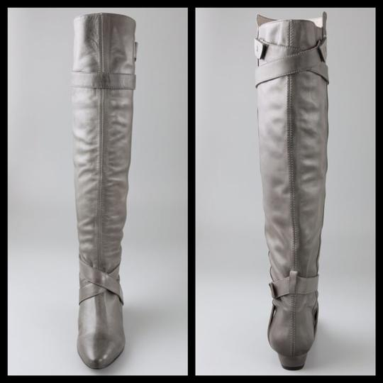 Pour La Victoire Genuine Leather Tall Over-the-knee Distressed Wedge gray Boots Image 4