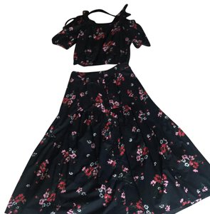 black with red and pink flowers Maxi Dress by Rebecca Taylor