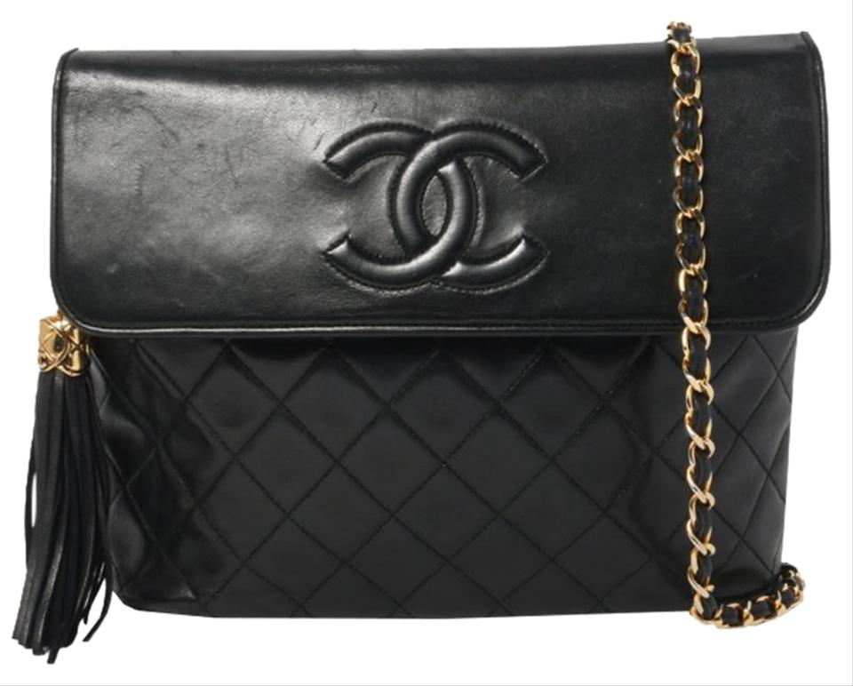 Chanel Classic Flap Vintage Quilted Cc Tassel Black