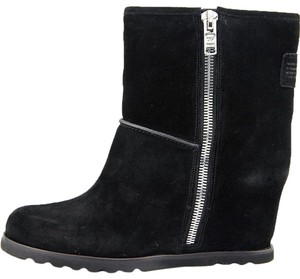 Marc by Marc Jacobs Black Suede Hidden Wedge Boots