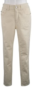 Alexander McQueen Denim Stripe Twill Engraved Skinny Pants Beige