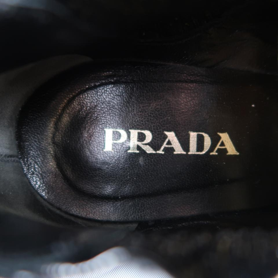 50dfc9054217 Prada Textured Patent Leather Kitten Heel Pointed Black Boots Image 5.  123456